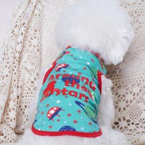 Майка для домашних животных с текстовым принтом SHEIN. Цвет: многоцветный