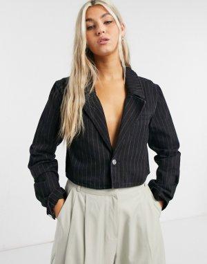 Черная укороченная джинсовая куртка из органического хлопка свободного кроя в тонкую полоску Verdin-Черный цвет Weekday