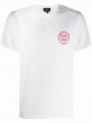 Футболка с логотипом A.P.C.. Цвет: белый