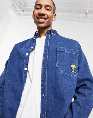 Джинсовая oversized-рубашка в стиле 90-х с вышивкой птички Твити Looney Tunes-Темно-синий ASOS DESIGN