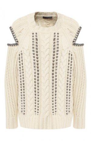 Кашемировый пуловер Alexander McQueen. Цвет: бежевый
