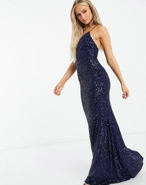 Темно-синее платье макси на бретельках с отделкой пайетками -Темно-синий Goddiva
