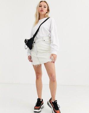 Джинсовая юбка с отделкой -Белый Cheap Monday