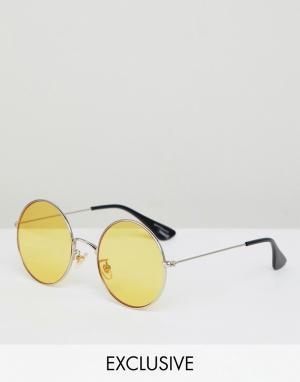 Круглые солнцезащитные очки с желтыми стеклами Inspired Reclaimed Vintage. Цвет: серебряный