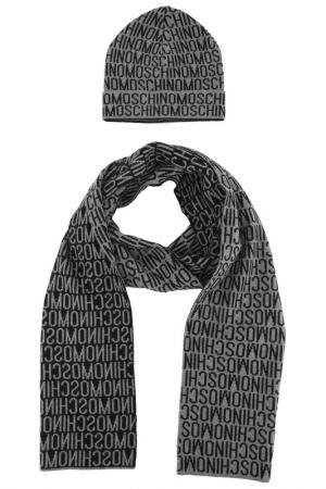 Комплект: шапка, шарф Moschino. Цвет: серый, черный