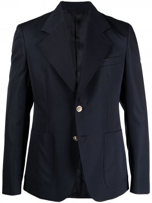 Однобортный пиджак с заостренными лацканами Versace. Цвет: синий