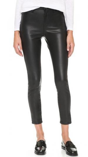 Principle Mid Rise Vegan Leather Skinny Pants Blank Denim