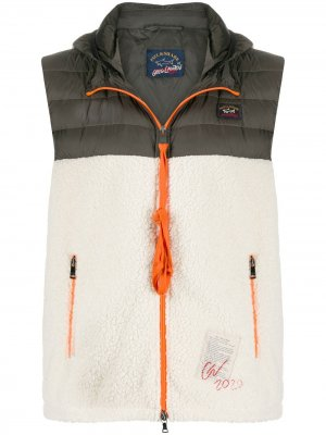 Colour-block zipped gilet Greg Lauren X Paul & Shark. Цвет: белый