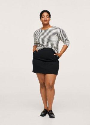 Мини-юбка с пуговицами - Liucca Mango. Цвет: черный