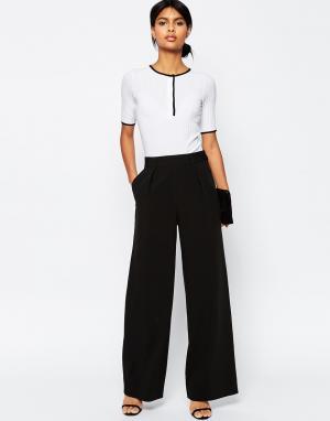 Широкие брюки с защипами ASOS DESIGN. Цвет: черный