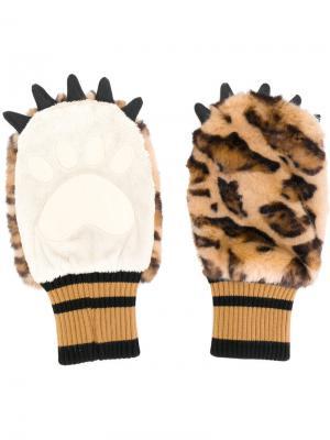 Перчатки с искусственным мехом Dolce & Gabbana. Цвет: коричневый