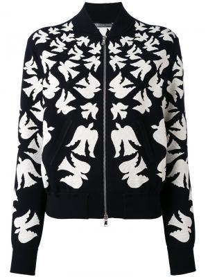 Куртка-бомбер с ласточками Alexander McQueen. Цвет: чёрный