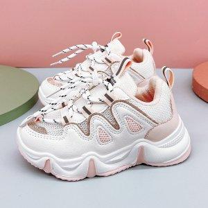 Для девочек Кроссовки на массивной подошве сетчатая вставка шнурках SHEIN. Цвет: многоцветный