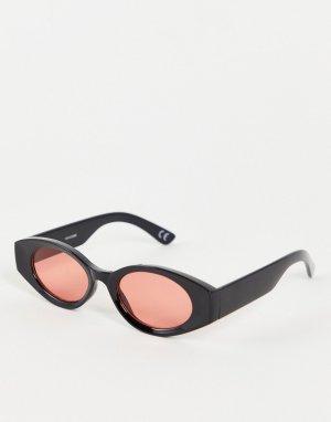 Солнцезащитные очки в черной овальной оправе средней величины с красными линзами -Черный цвет ASOS DESIGN
