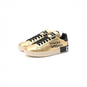 Кожаные кеды Portofino Dolce & Gabbana. Цвет: золотой