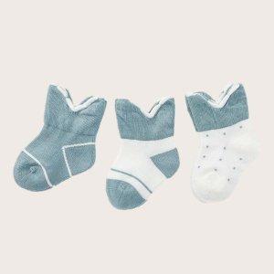 Детский 3 пары Носки до середины голени двухцветный SHEIN. Цвет: многоцветный