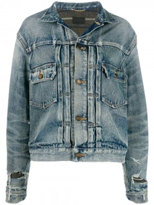 Джинсовая куртка с эффектом потертости Saint Laurent. Цвет: синий