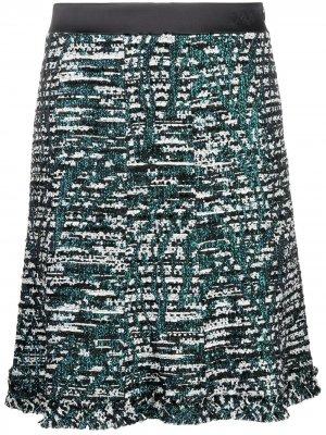 Твидовая юбка А-силуэта Karl Lagerfeld. Цвет: черный