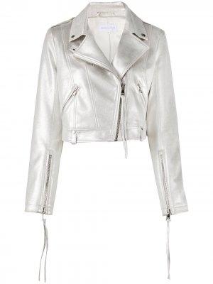 Укороченная байкерская куртка с эффектом металлик Patrizia Pepe. Цвет: серебристый