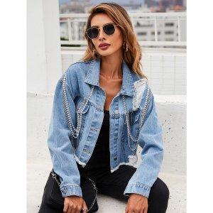 Рваная джинсовая куртка SHEIN. Цвет: легко-синий