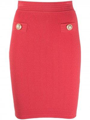 Трикотажная юбка-карандаш с эластичным поясом в рубчик Balmain. Цвет: розовый