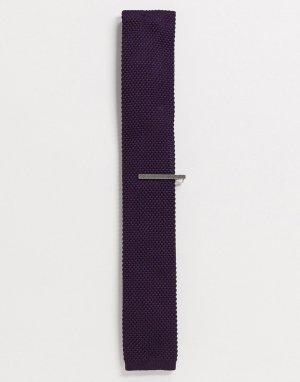 Однотонный трикотажный галстук и зажим для галстука -Фиолетовый Ben Sherman