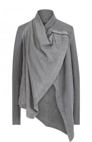 Однотонная хлопковая куртка асимметричного кроя Roque. Цвет: серый