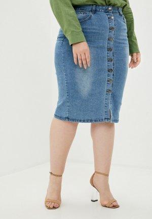 Юбка джинсовая Adele Fashion. Цвет: голубой