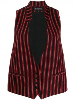 Полосатый блейзер без рукавов Ann Demeulemeester. Цвет: красный