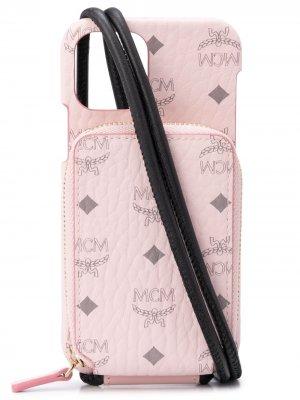 Чехол для iPhone 12 Pro с монограммой MCM. Цвет: розовый