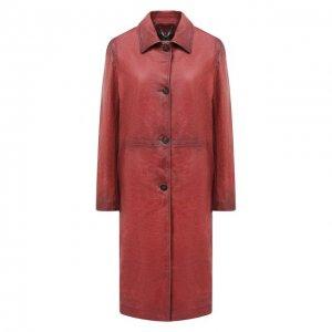Кожаное пальто Golden Goose Deluxe Brand. Цвет: коричневый