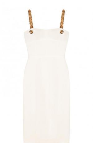 Приталенное платье-миди с контрастными бретельками Tom Ford. Цвет: белый