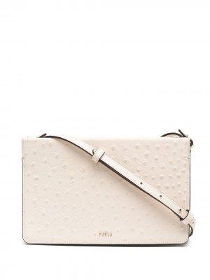 Фактурная сумка через плечо на молнии Furla. Цвет: нейтральные цвета
