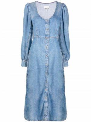 Джинсовое платье миди с длинными рукавами GANNI. Цвет: синий