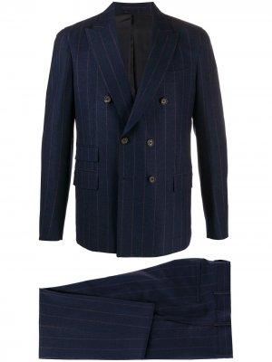 Костюм с двубортным пиджаком в тонкую полоску Eleventy. Цвет: синий