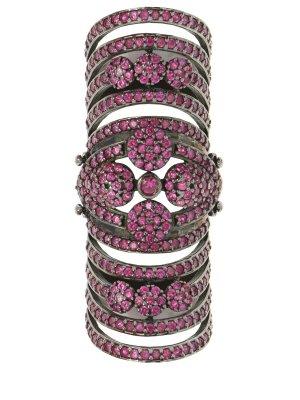Удлиненное кольцо с кристаллами AAMAYA PRIYANKA. Цвет: разноцветный