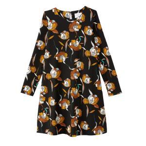 Платье короткое с цветочным принтом в форме трапеции COMPANIA FANTASTICA. Цвет: черный наб. рисунок