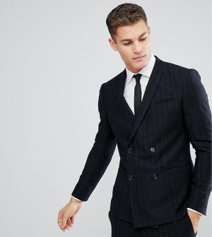 Зауженный двубортный пиджак в полоску Noak. Цвет: темно-синий