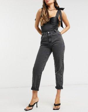 Черные широкие джинсы -Черный цвет New Look