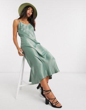 Атласное платье на бретельках -Зеленый b.Young