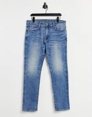 Выбеленные джинсы узкого кроя цвета индиго -Голубой American Eagle