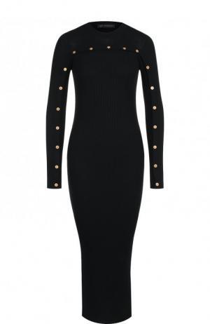 Шерстяное платье-миди с контрастными пуговицами Versace. Цвет: черный