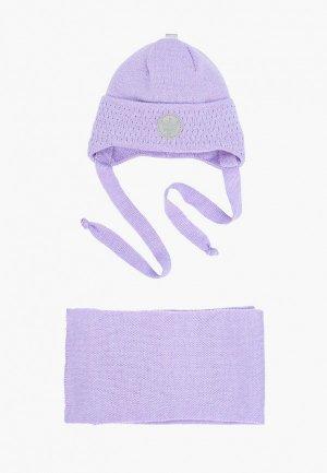 Шапка и шарф Prikinder. Цвет: фиолетовый