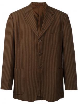 Пиджак в полоску Romeo Gigli Vintage. Цвет: коричневый