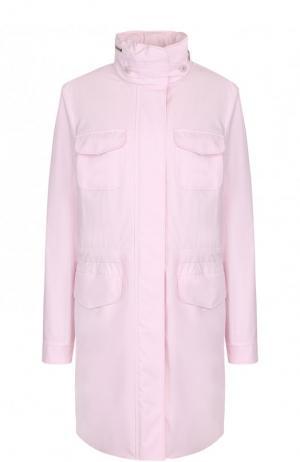 Однотонная парка с воротником-стойкой и накладными карманами Loro Piana. Цвет: светло-розовый