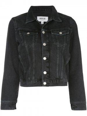 Укороченная джинсовая куртка AGOLDE. Цвет: черный