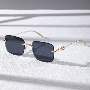 Мужские солнцезащитные очки без оправы SHEIN. Цвет: темно-синий
