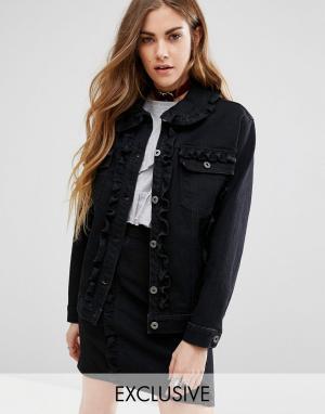 Комбинируемая джинсовая куртка с оборками Reclaimed Vintage. Цвет: черный