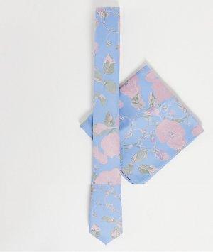 Голубой узкий галстук и платок для нагрудного кармана с розовым цветочным принтом -Розовый цвет ASOS DESIGN