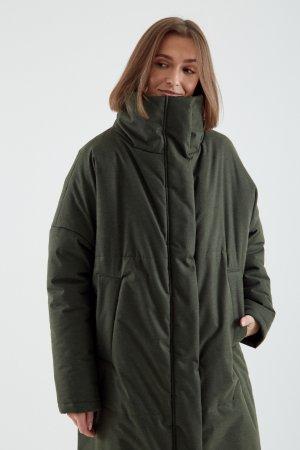 Куртка утепленная ЧЕРЕШНЯ. Цвет: темно-зеленый